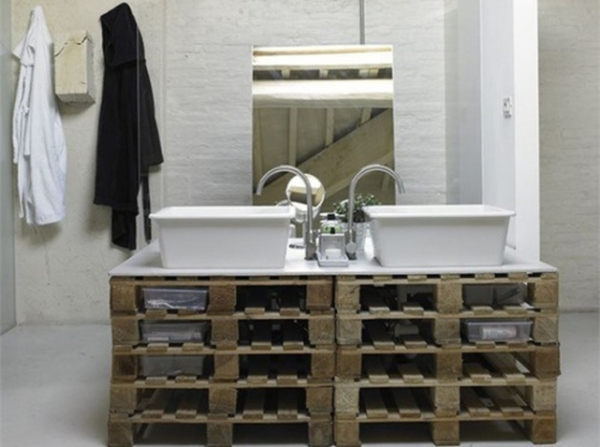 meuble salle de bain palette bois