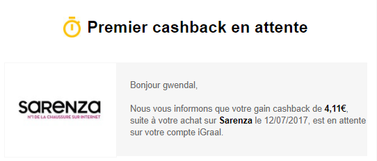 cashback sarenza